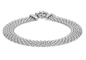9ct White Gold Bismark Bracelet 19cm/7.5""