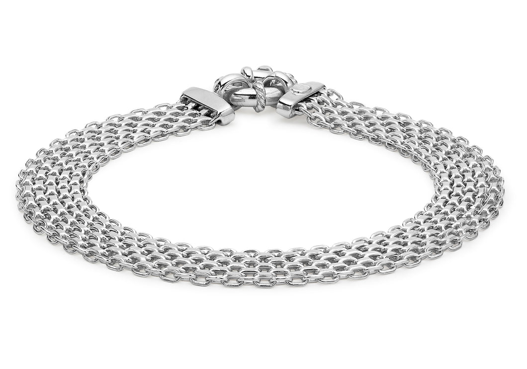 9ct White Gold Bismark Bracelet 19cm/7.5