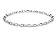 9ct White Gold Hollow Oval Belcher Bracelet 19cm/7.5""