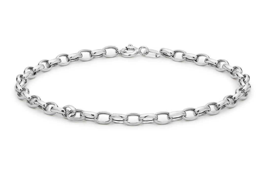 9ct White Gold Hollow Oval Belcher Bracelet 19cm/7.5
