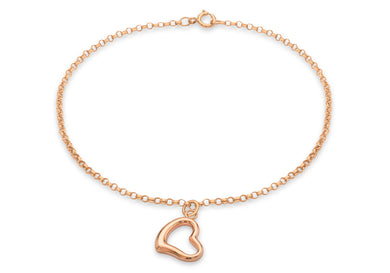 9ct Rose Gold Heart Charm Round Belcher Chain Bracelet 18cm/7