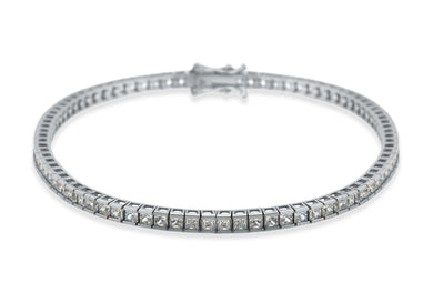 9ct White Gold 2mm Square CZ Tennis Bracelet 19cm/7.5