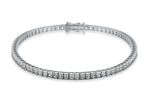 9ct White Gold 2mm Square CZ Tennis Bracelet 19cm/7.5""