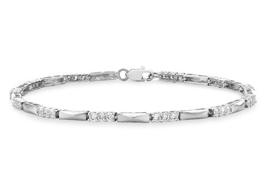 9ct White Gold CZ and Bar Link Bracelet 19cm/7.5