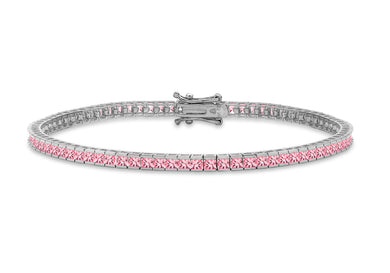 9ct White Gold 2mm Square Pink CZ Bracelet 7.5