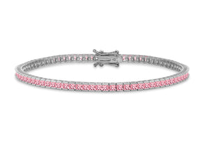 9ct White Gold 2mm Square Pink CZ Bracelet 7.5""