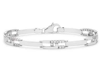 9ct White Gold CZ Rectangular Link Bracelet 19cm/7.5