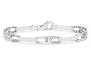 9ct White Gold CZ Rectangular Link Bracelet 19cm/7.5""