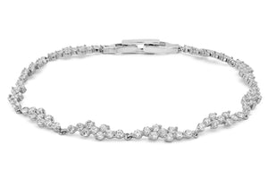 9ct White Gold CZ Wave Bracelet 19cm/7.5""