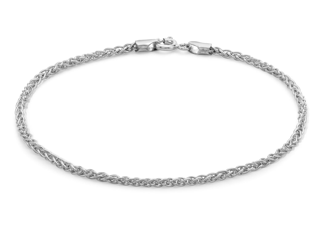 9ct White Gold 050pg Spiga Chain Bracelet 19cm/7.5