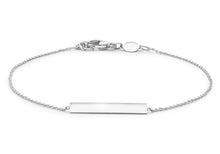 9ct White Gold Horizontal Bar Adjustable Bracelet 18cm-19cm/7""