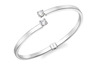 9ct White Gold CZ Crossover Bangle