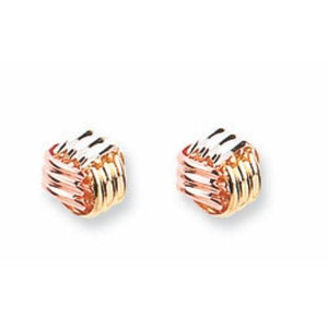 9ct Yellow White & Rose Gold Fancy Knot Studs Earrings - Queen of Silver