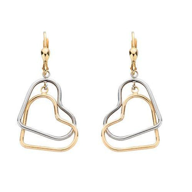 9ct Yellow & White Gold Heart Drops - Queen of Silver