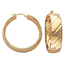 9ct Yellow Gold Fancy Hoop Earrings - Queen of Silver