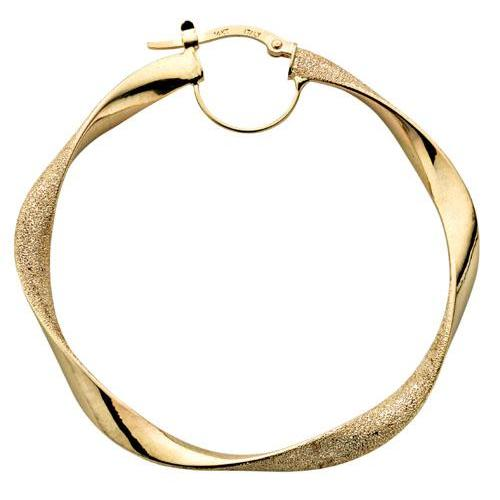 9ct Yellow Gold Frosted Twisted Hoop Earrings - Queen of Silver