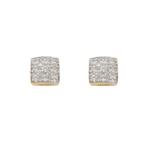 9ct Yellow Gold Square Cz Stud Earrings - Queen of Silver