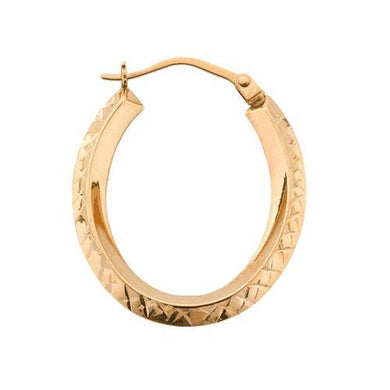 9ct Yellow Gold D/C Oval Hoop Earrings - Queen of Silver