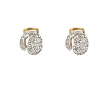 9ct Yellow Gold Cz Boxing Gloves Stud Earrings - Queen of Silver