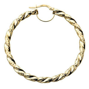 9ct Yellow Gold Fancy Twisted Hoop Earrings - Queen of Silver