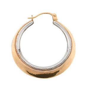 9ct Yellow & White Gold Fancy Hoop Earrings - Queen of Silver