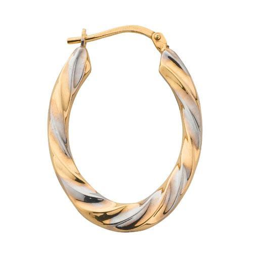 9ct Yellow & White Gold Oval Hoop Earrings - Queen of Silver
