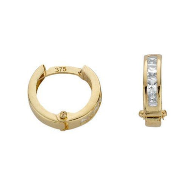 9ct Yellow Gold Princess Cut Cz Hoop Earrings - Queen of Silver