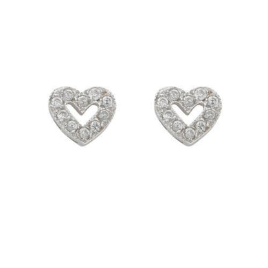 9ct White Gold Cz Heart Stud Earrings - Queen of Silver