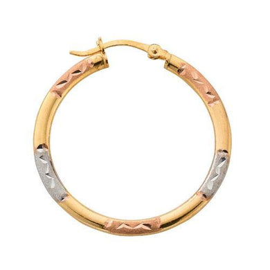 9ct Yellow  White  & Rose Gold D/C Hoop Earrings - Queen of Silver