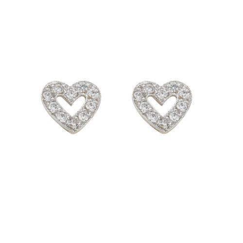 9ct Yellow Gold Cz Heart Stud Earrings - Queen of Silver