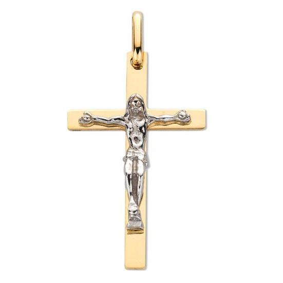9ct Yellow Gold & White Gold Crucifix Pendent - Queen of Silver