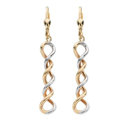 9ct Yellow & White Gold Twisted Drops - Queen of Silver