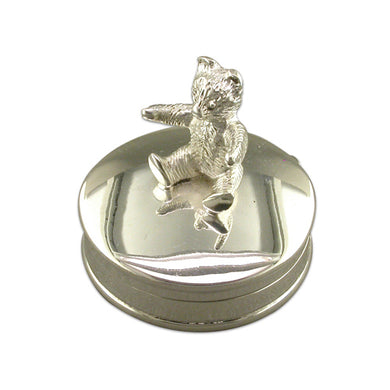 Sterling Silver Sitting Teddy On Small Round Box Gifts