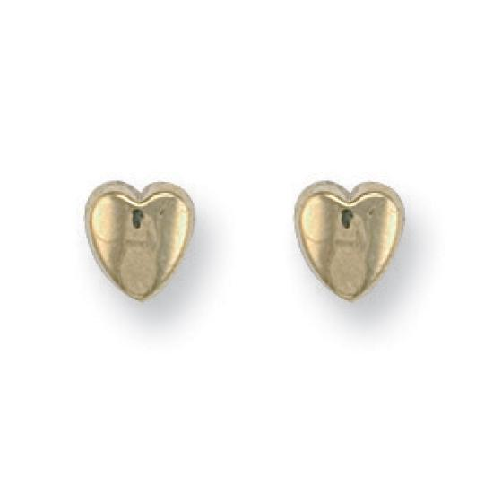 9ct Yellow Gold Heart Studs Earrings - Queen of Silver