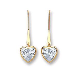 9ct Yellow Gold  Cz Heart Drop Earrings - Queen of Silver