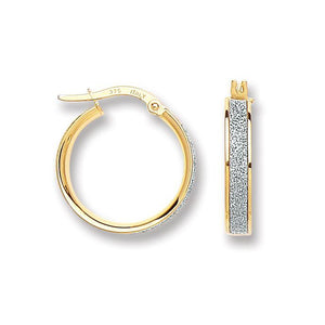 9ct Yellow Gold Moondust Hoop 15mm Earrings - Queen of Silver