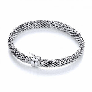J-Jaz Sterling Silver Woven Mesh Bangle - Queen of Silver