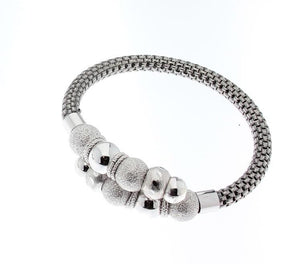 J-Jaz Sterling Silver Crossover Beads Bangle - Queen of Silver