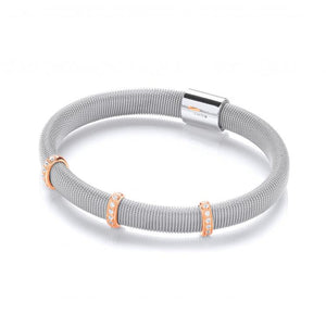 J-Jaz Sterling Silver Magnetic CZ Rose Gold Detail Bangle - Queen of Silver