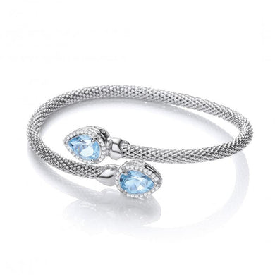 J-Jaz Sterling Silver Blue Topaz & CZ Crossover Bangle - Queen of Silver