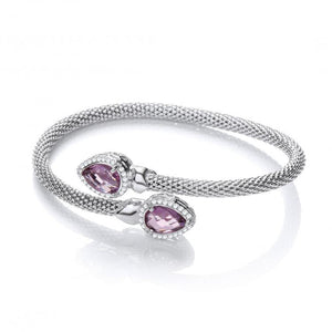 J-Jaz Sterling Silver Amethyst & CZ Crossover Bangle - Queen of Silver