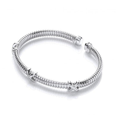 J-Jaz Sterling Silver Three Kiss Kiss CZ Wire Bangle - Queen of Silver