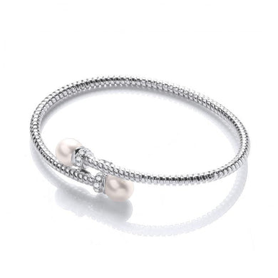 J-Jaz Sterling Silver Freshwater Pearl & CZ Crossover Bangle - Queen of Silver