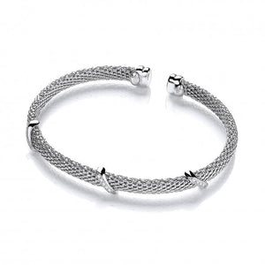 J-Jaz Sterling Silver CZ Popcorn Torque Bangle - Queen of Silver