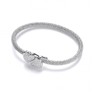 J-Jaz Sterling Silver Double Heart CZ Popcorn Bangle - Queen of Silver
