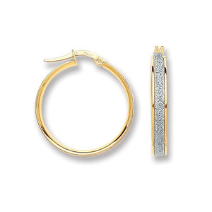 9ct Yellow Gold Moondust Hoop 20mm Earrings - Queen of Silver