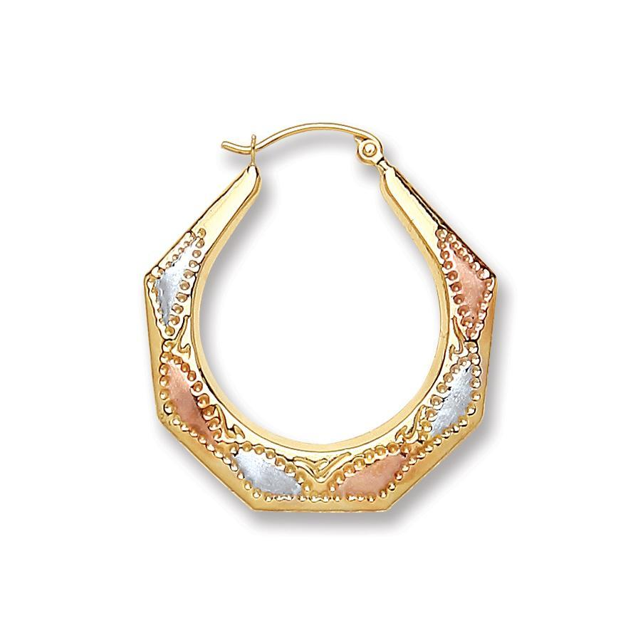9ct Yellow White Red Gold Hoop Earrings - Queen of Silver