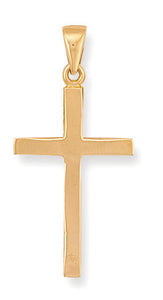 9ct Yellow Gold Plain Cross Pendent - Queen of Silver