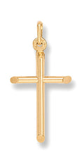 9ct Yellow Gold Round Tubed Cross Pendent - Queen of Silver