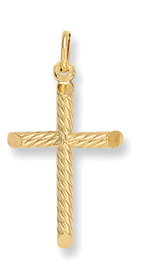 9ct Yellow Gold Fancy Hollow Tubed Cross Pendent - Queen of Silver